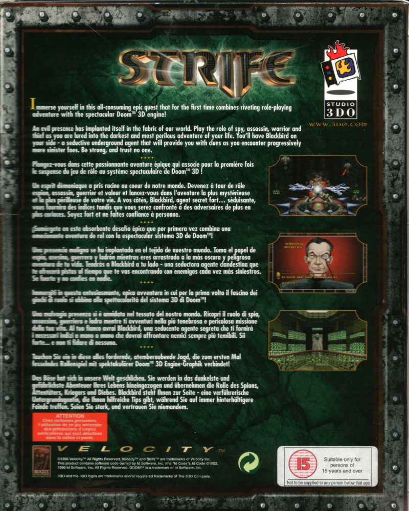 Strife DOS Back Cover
