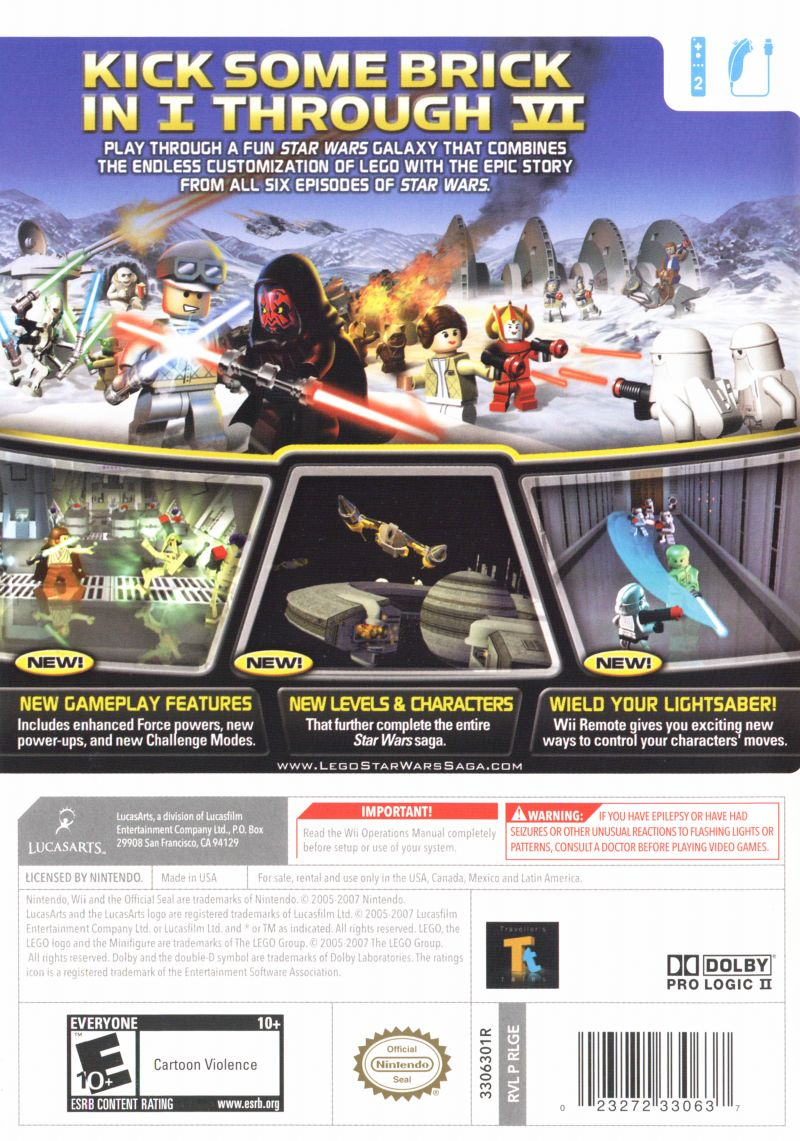 LEGO Star Wars: The Complete Saga Wii Back Cover
