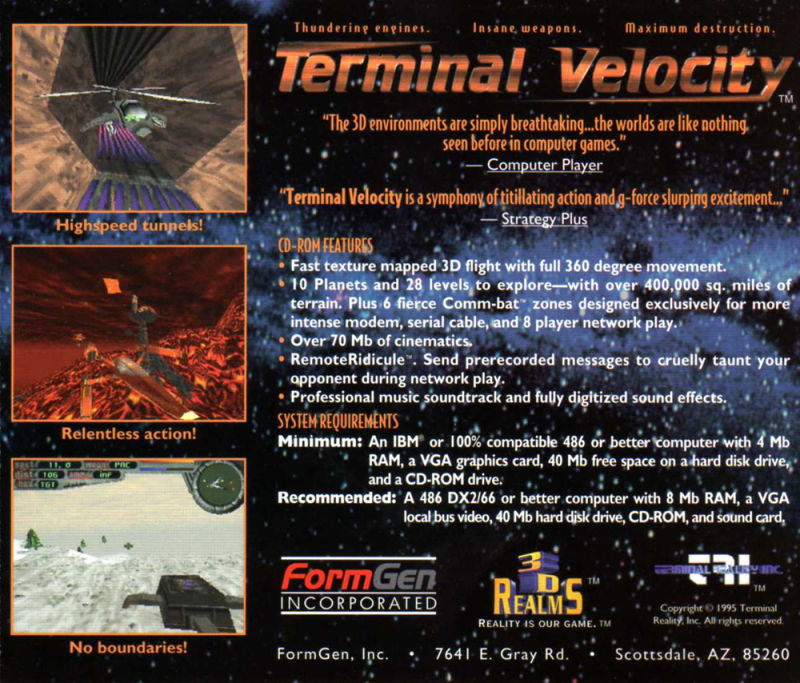 Terminal Velocity DOS Other Jewel Case - Back