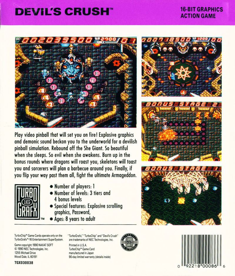 Devil's Crush TurboGrafx-16 Back Cover