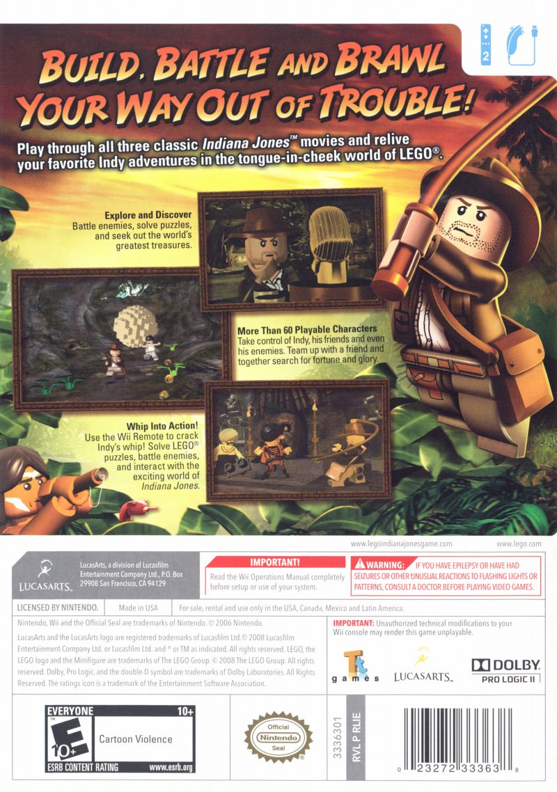 Lego indiana jones the original adventures 2008 wii box cover art lego indiana jones the original adventures wii back cover publicscrutiny Image collections