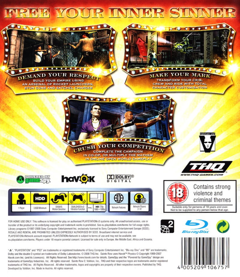 Saints Row 2 PlayStation 3 Back Cover
