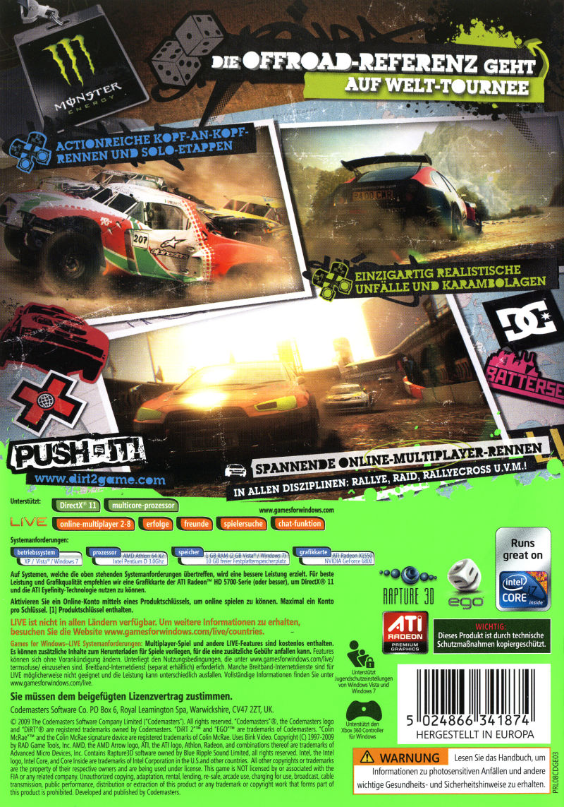 Colin McRae: DiRT 2 (Special Edition) Windows Other Keep Case - Back