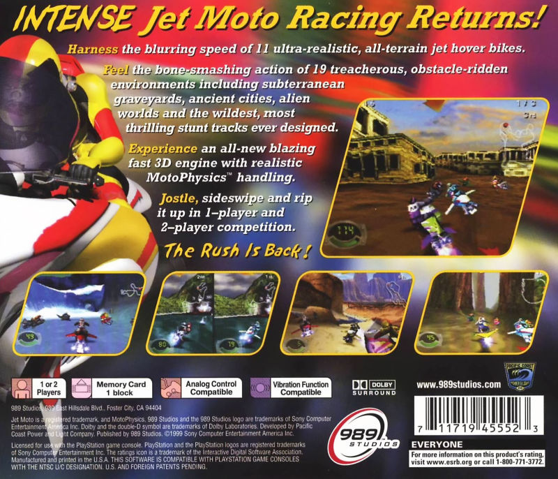 Jet Moto 3 PlayStation Back Cover