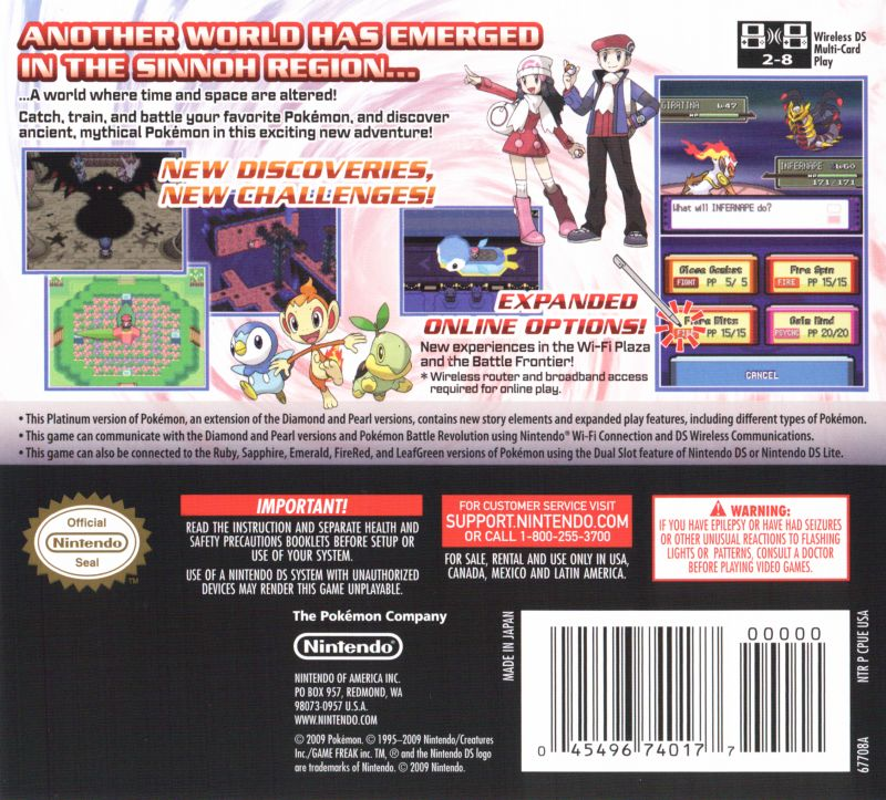 Pokémon Platinum Version Nintendo DS Back Cover