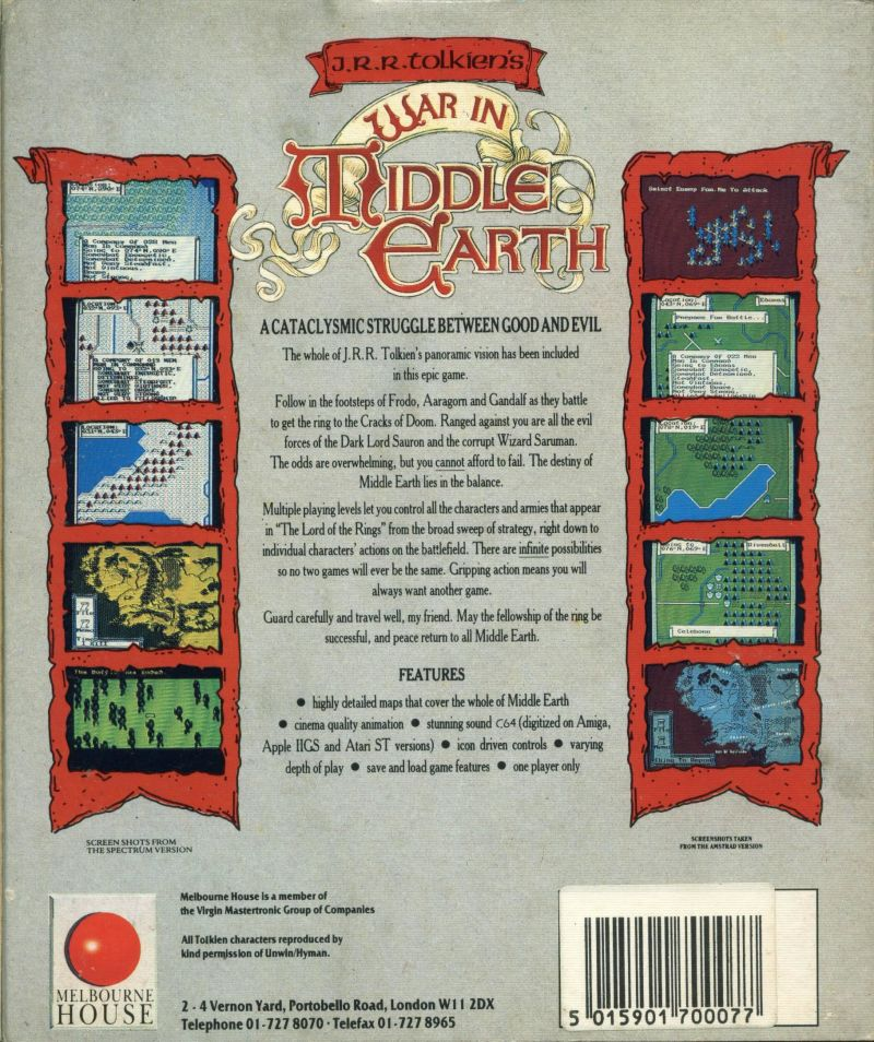 J.R.R. Tolkien's War in Middle Earth ZX Spectrum Back Cover