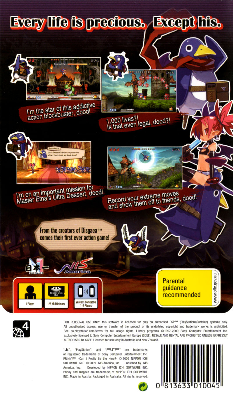 Prinny: Can I Really Be the Hero? PSP Back Cover