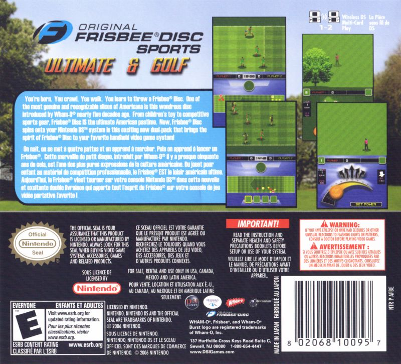 Original Frisbee Disc Sports: Ultimate & Golf Nintendo DS Back Cover