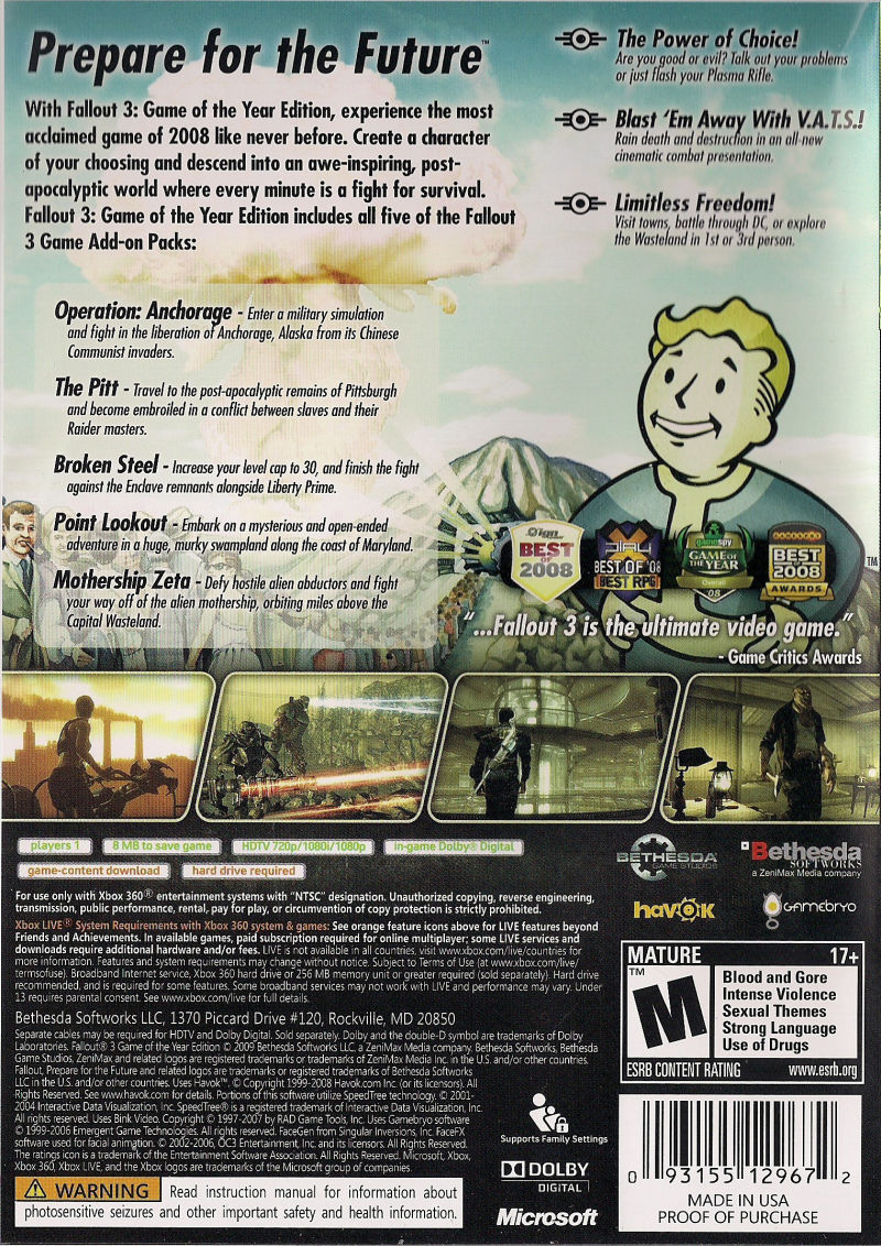 Fallout 3: Game of the Year Edition Xbox 360 Other Keep Case - Back