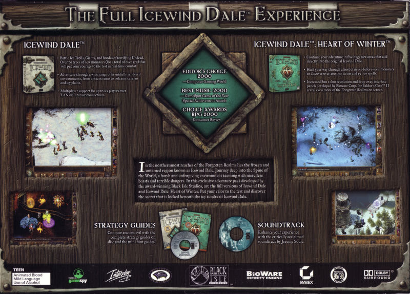 Icewind Dale: The Collection Windows Back Cover
