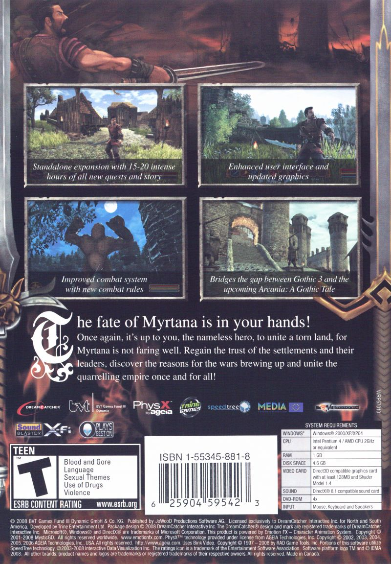 Gothic 3: Forsaken Gods Windows Back Cover