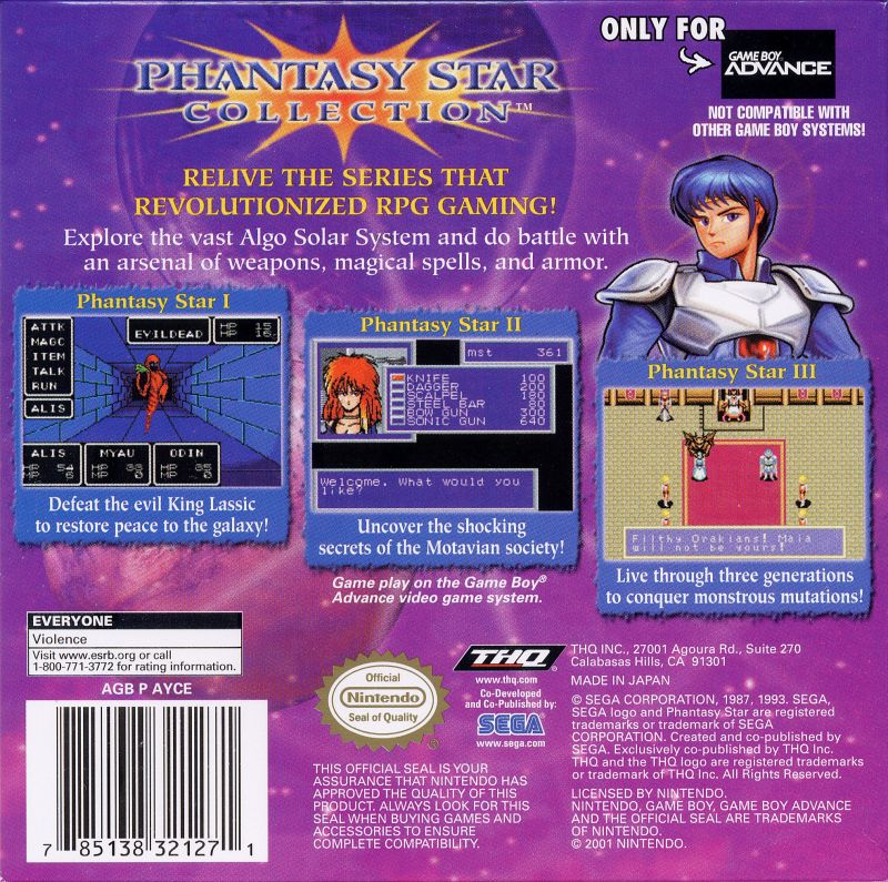Phantasy Star Collection Game Boy Advance Back Cover
