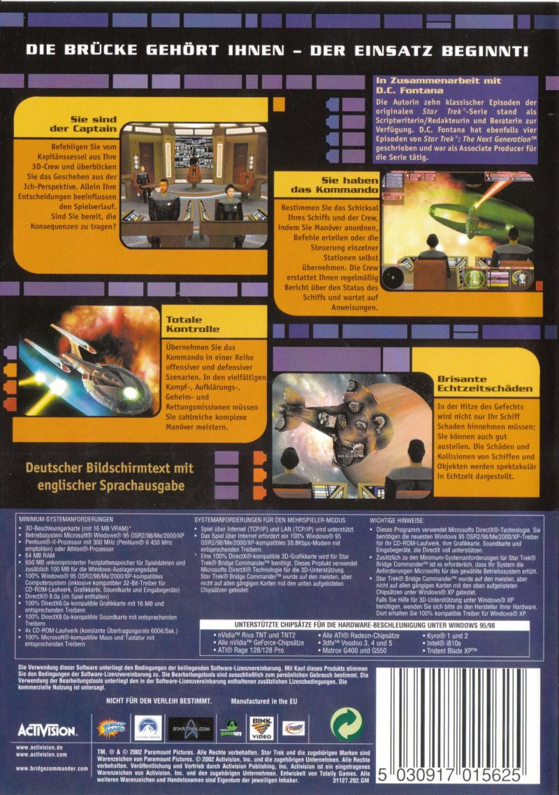 Star Trek: Bridge Commander Windows Back Cover