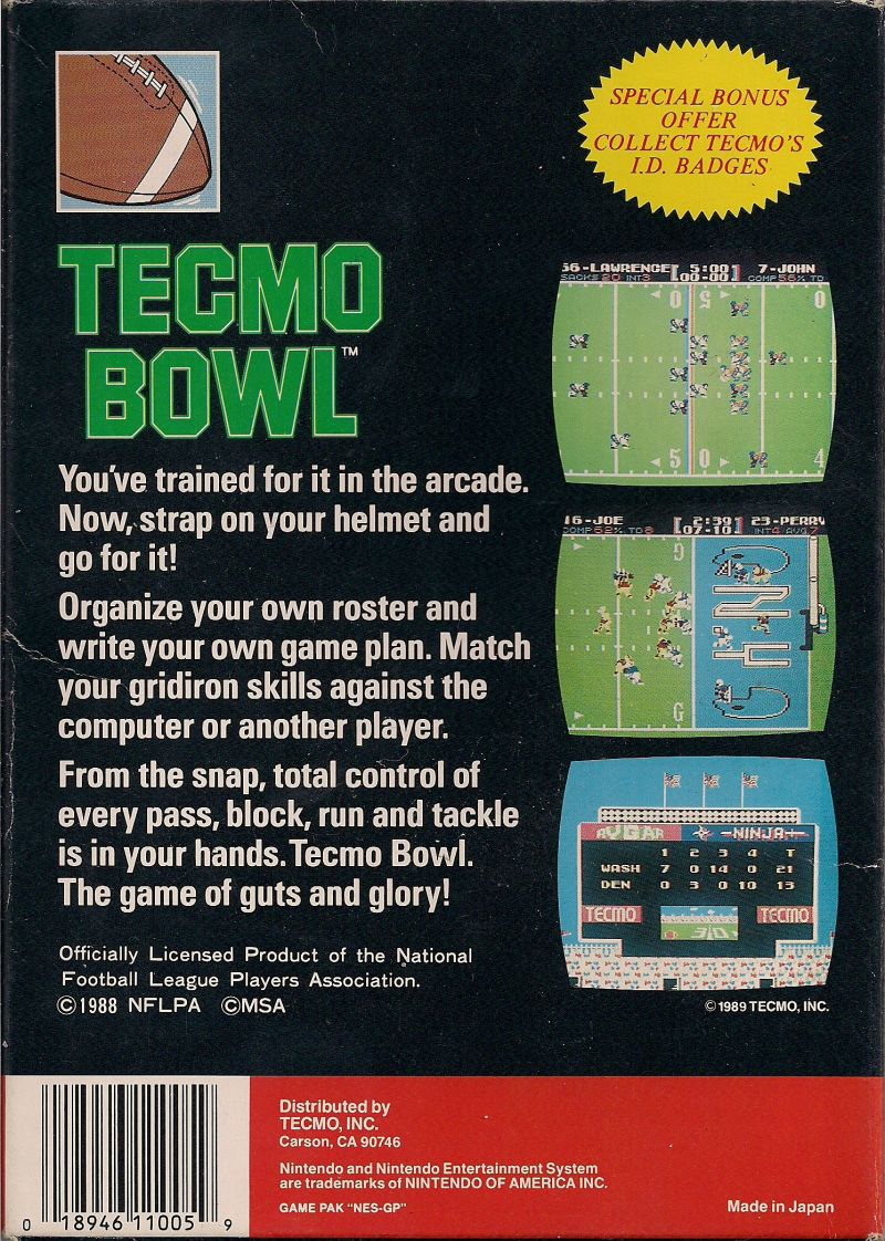 Tecmo Bowl NES Back Cover