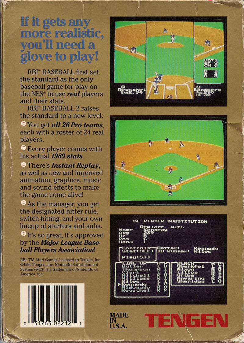 R.B.I. Baseball 2 NES Back Cover