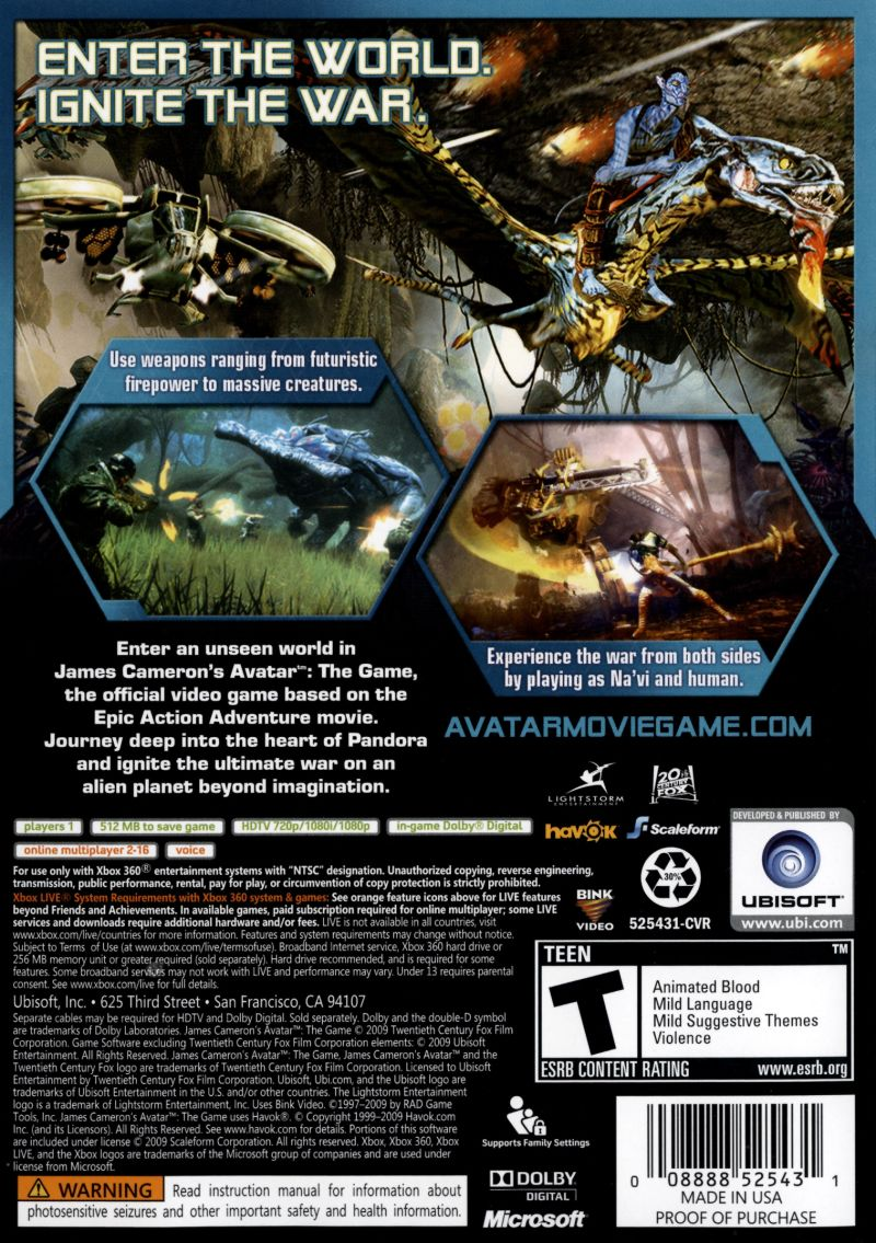 Xbox 360 Game Cover Back James Cameron's Avatar...