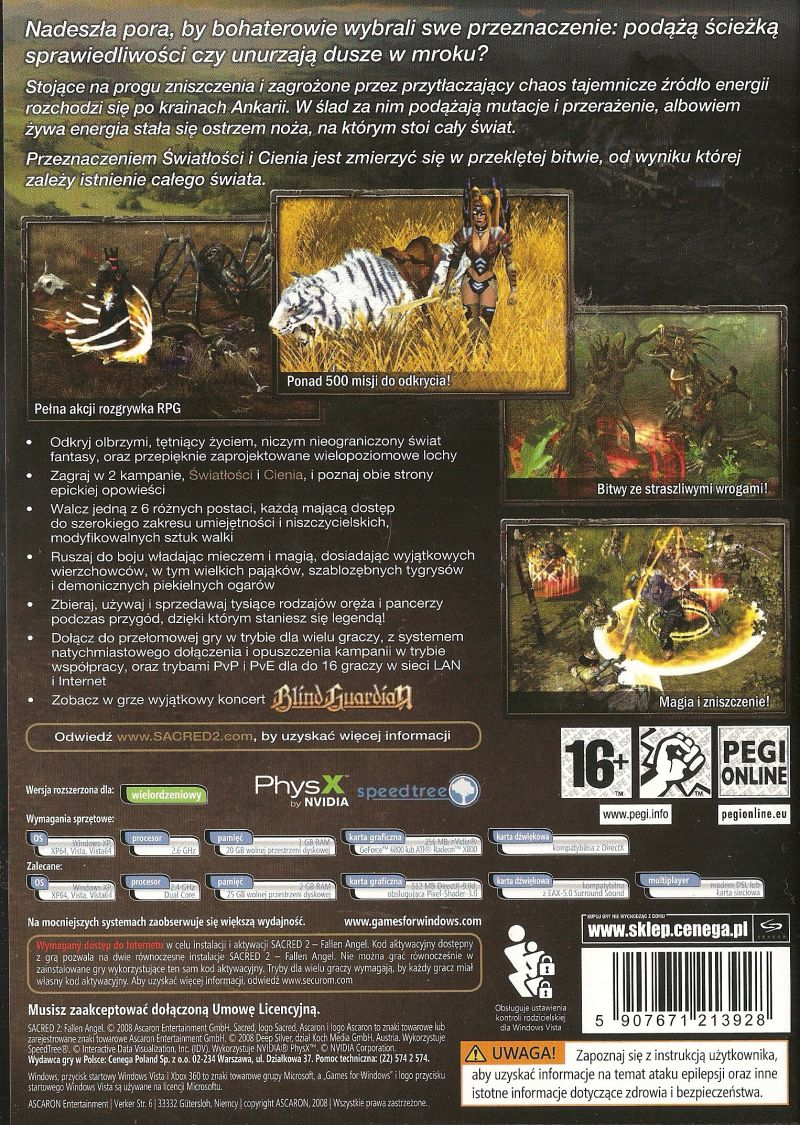 Sacred 2: Fallen Angel Windows Other Keep case - back