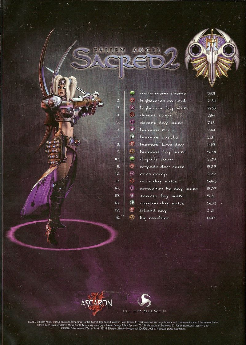 Sacred 2: Fallen Angel Windows Other Soundtrack keep case - back
