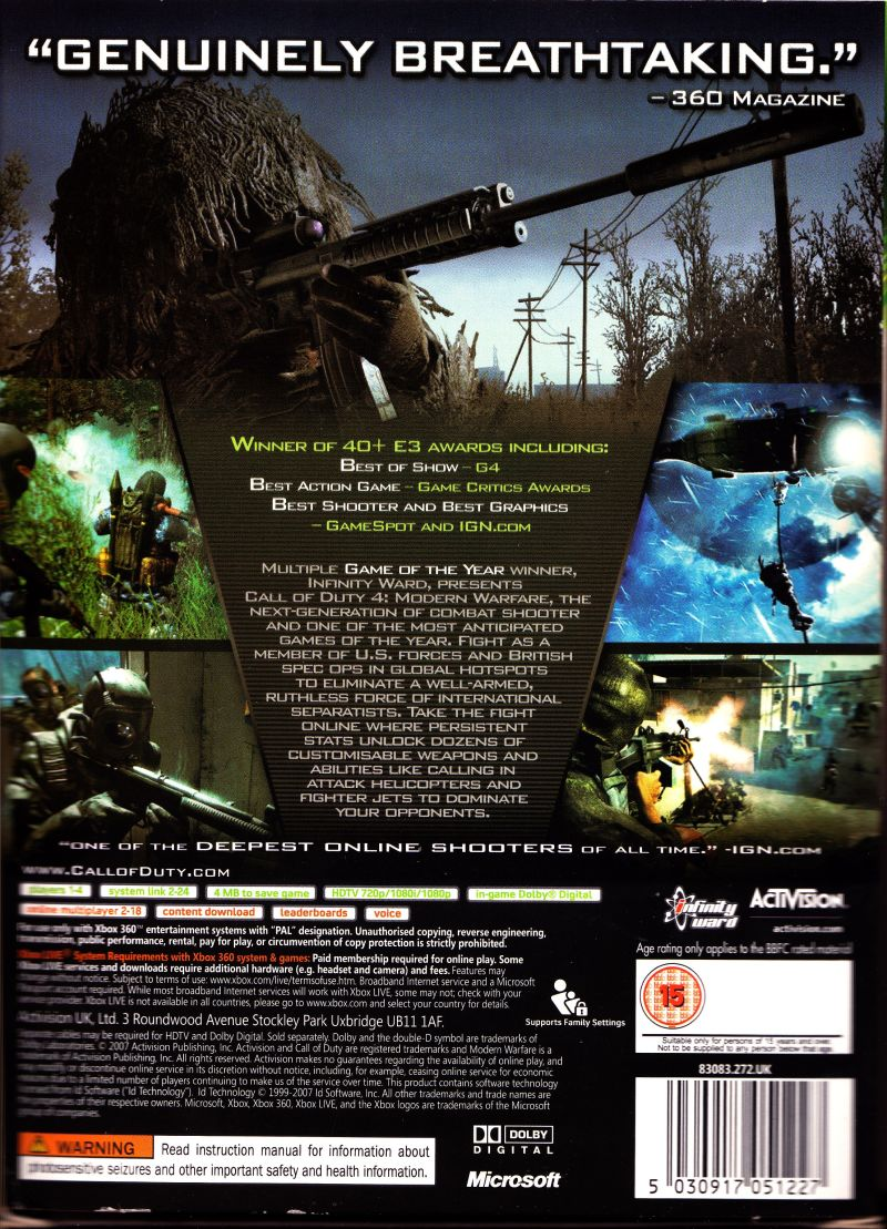 Call of Duty 4: Modern Warfare (Limited Collector's Edition) Xbox 360 Back Cover