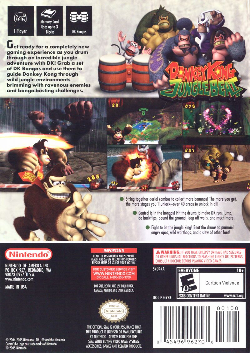 Donkey Kong: Jungle Beat GameCube Back Cover