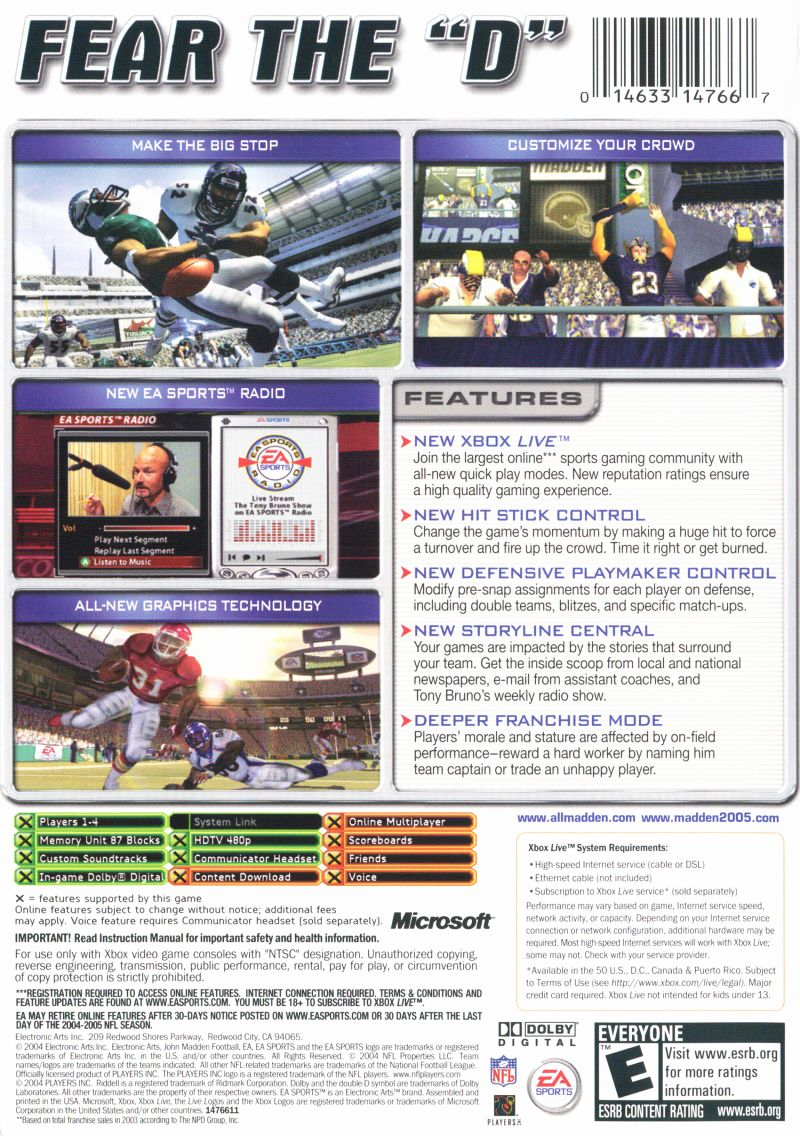 Madden NFL 2005 Xbox Back Cover