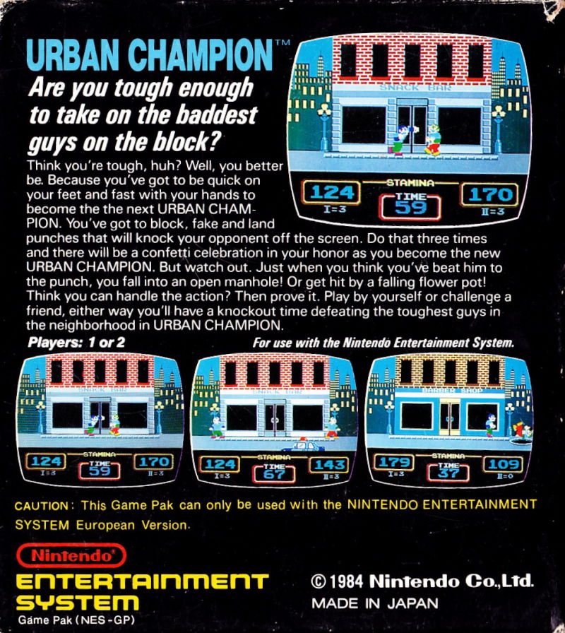 Urban Champion NES Back Cover