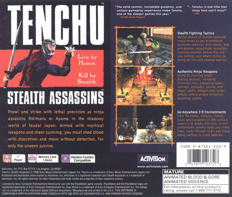 Tenchu: Stealth Assassins PlayStation Back Cover