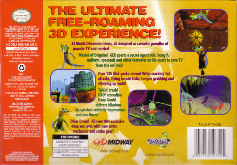Gex 3D: Enter the Gecko Nintendo 64 Back Cover