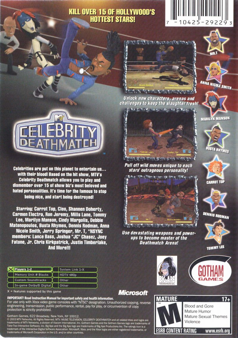 MTV Celebrity Deathmatch Xbox Back Cover