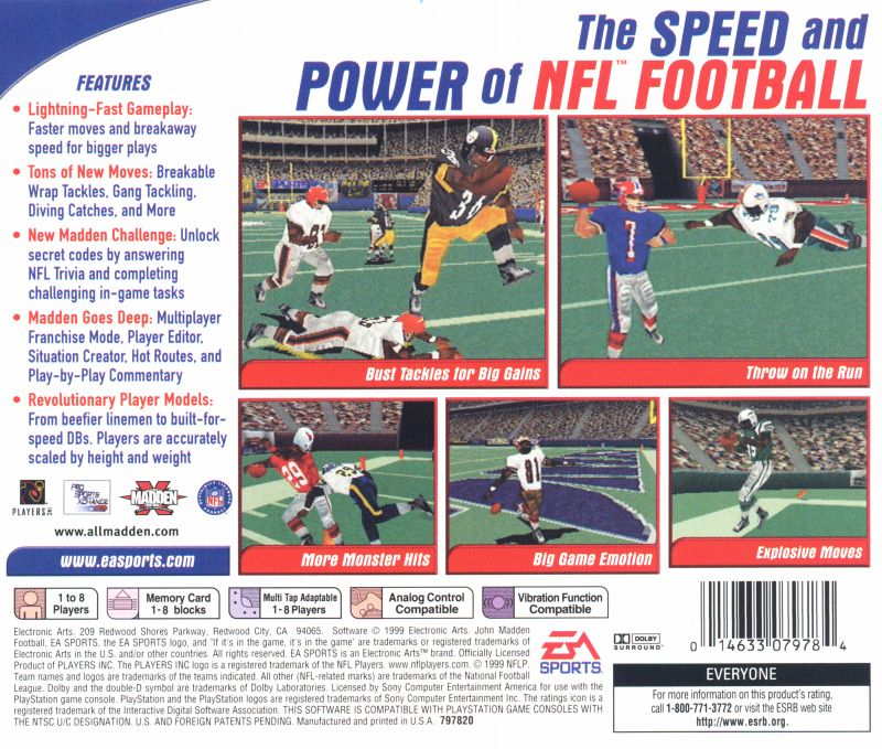 Madden NFL 2000 PlayStation Back Cover