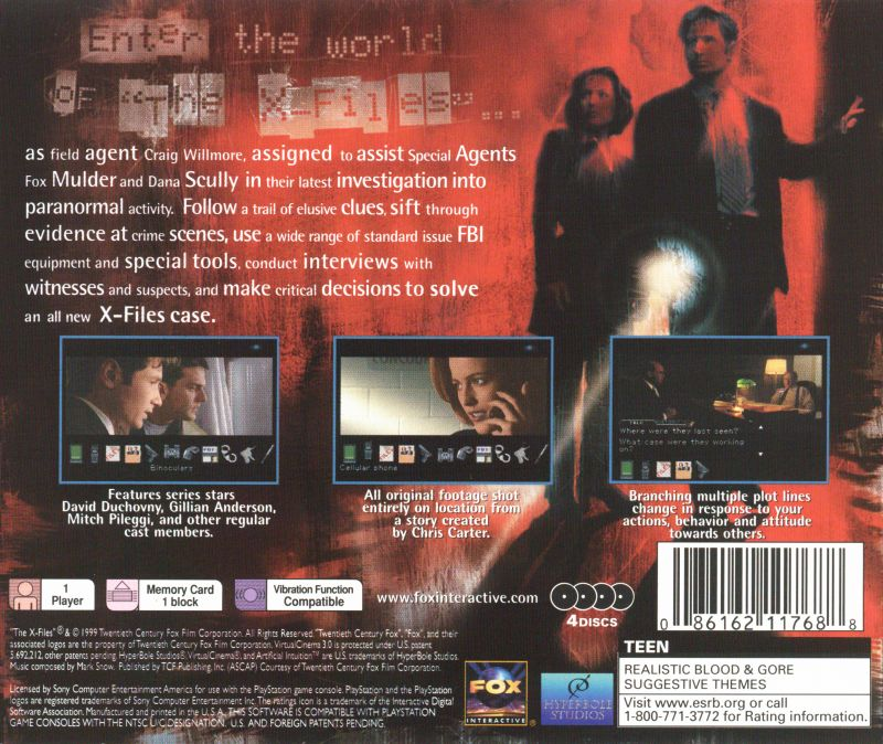 the xfiles game 1999 playstation box cover art mobygames