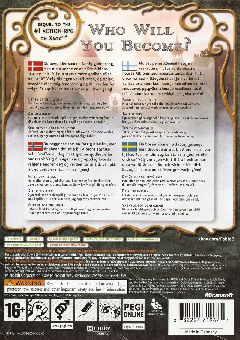 Fable II Xbox 360 Back Cover