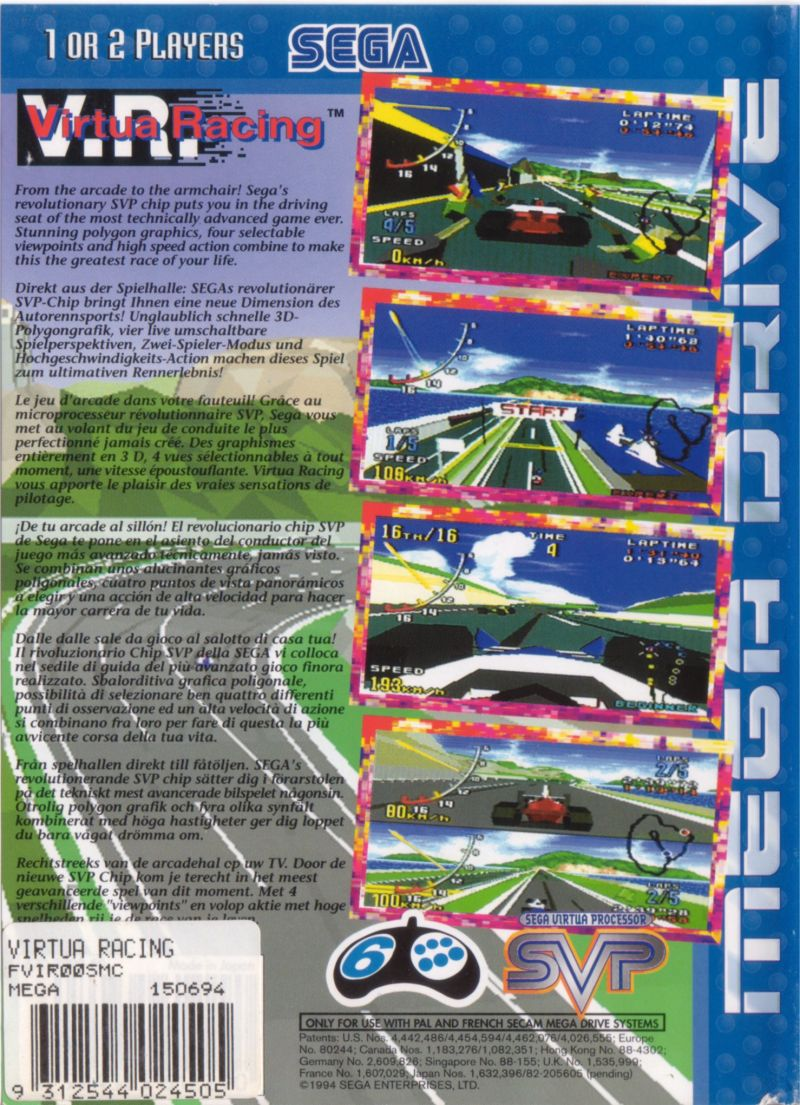 Virtua Racing Genesis Back Cover