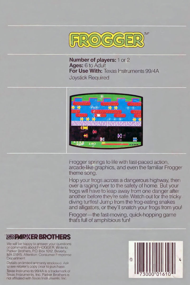 Frogger TI-99/4A Back Cover