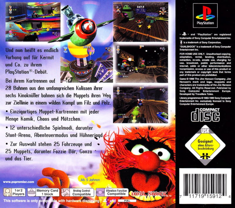 Muppet RaceMania PlayStation Back Cover