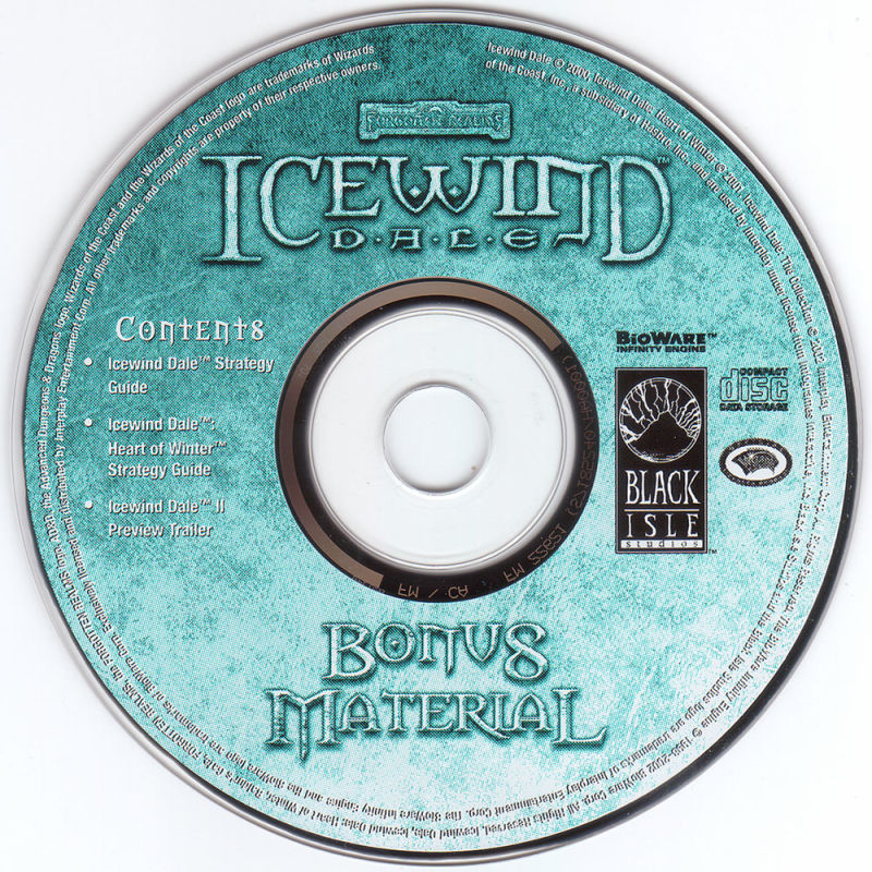 Icewind Dale: The Collection Windows Media Bonus Material CD-ROM, other CD's identical to the regular version CD's.