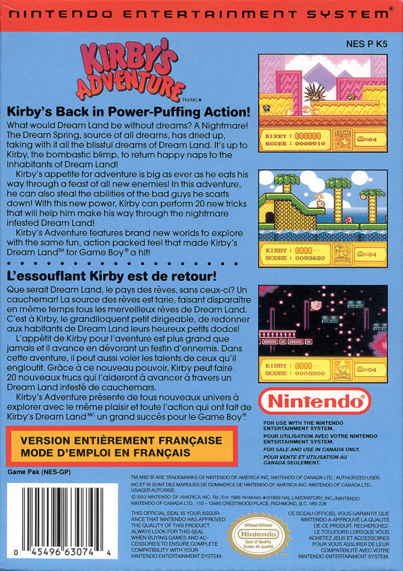 Kirby's Adventure NES Back Cover