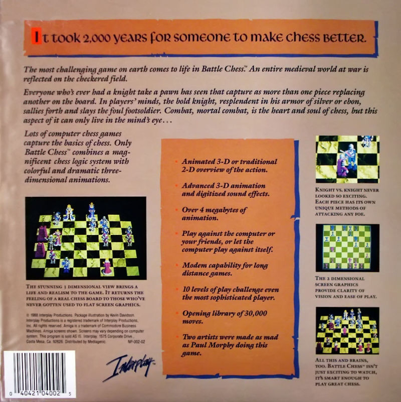 Battle Chess Apple IIgs Back Cover