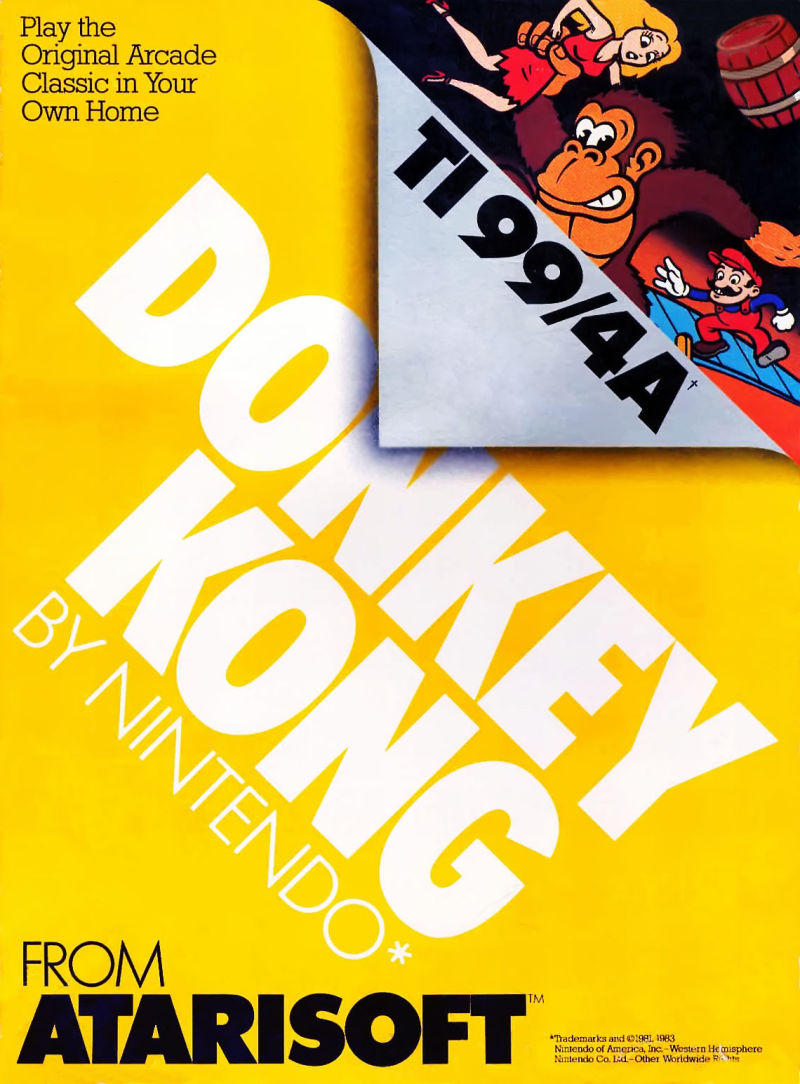 Donkey Kong TI-99/4A Front Cover