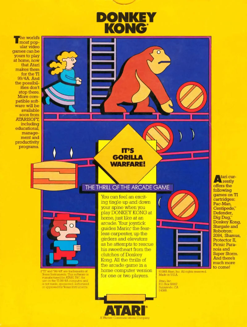 Donkey Kong TI-99/4A Back Cover