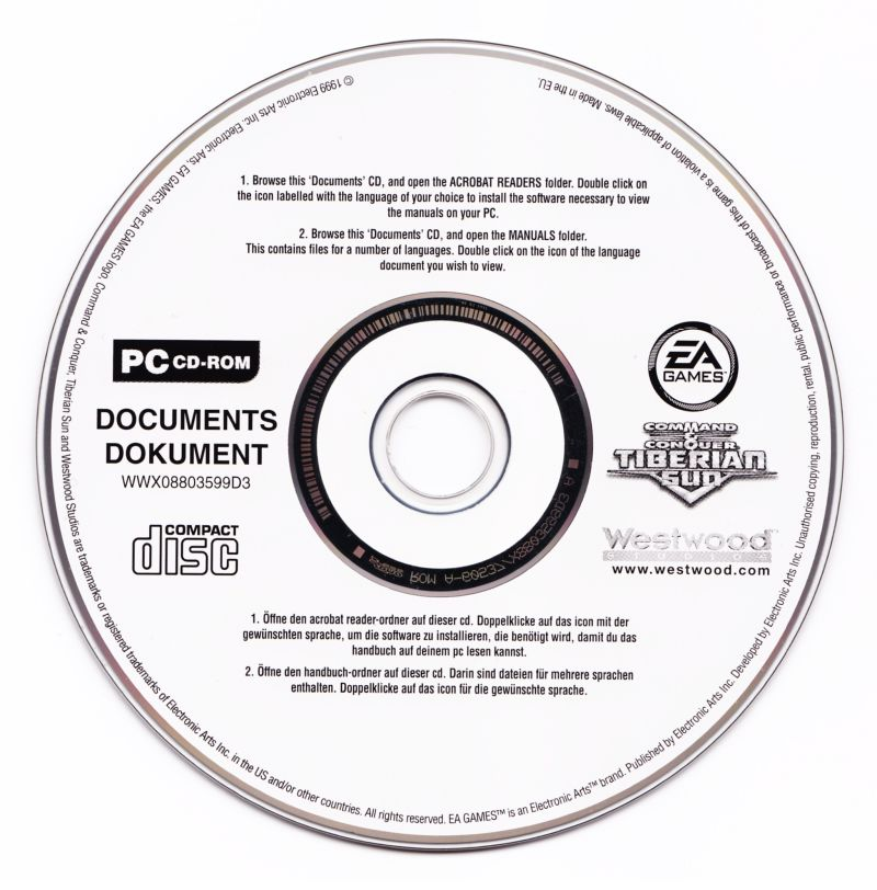 Command & Conquer: Tiberian Sun Windows Media Documentation disc