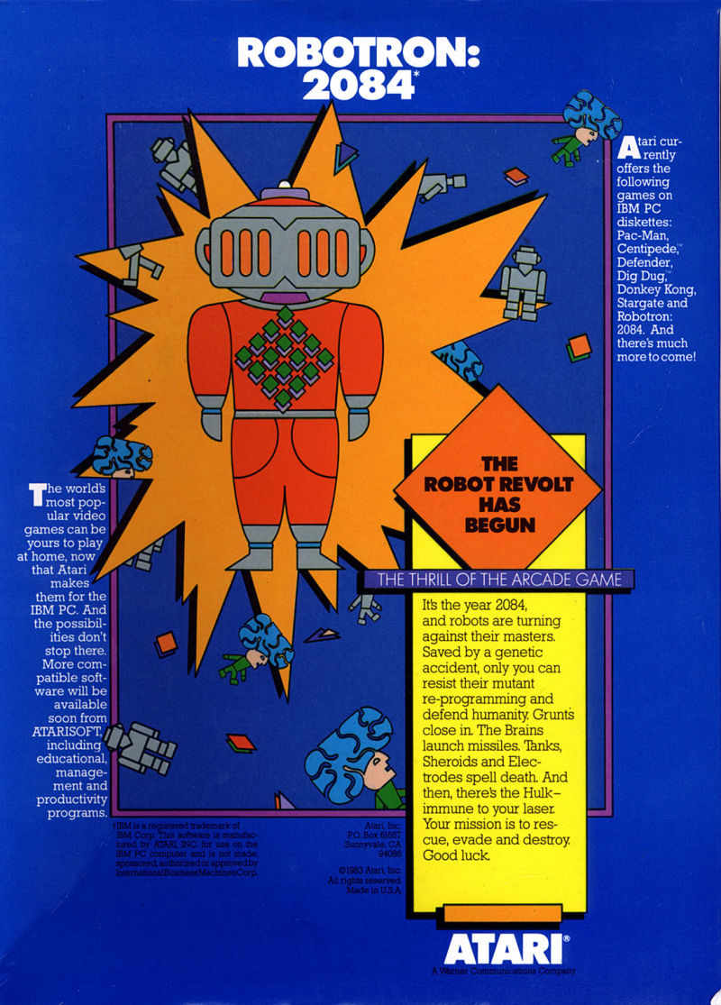 Robotron: 2084 PC Booter Back Cover