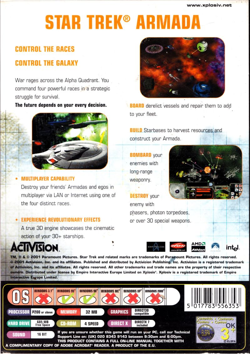 Star Trek: Armada Windows Back Cover