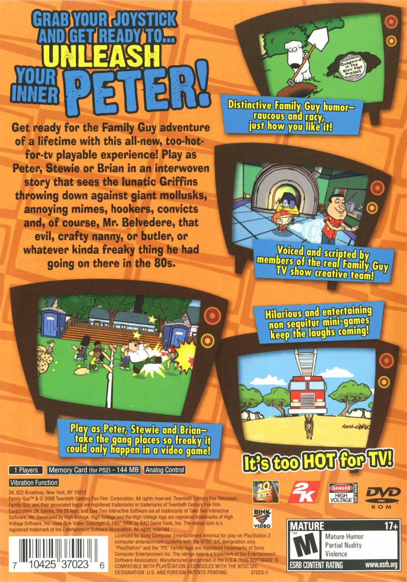 Family Guy Video Game! PlayStation 2 Back Cover