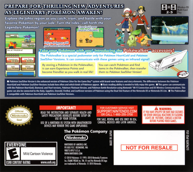 Pokémon SoulSilver Version Nintendo DS Other DS Case - Back