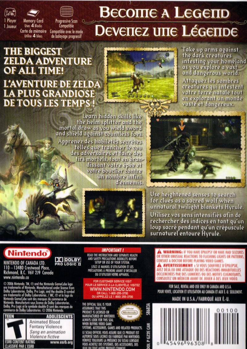 The Legend of Zelda: Twilight Princess GameCube Back Cover