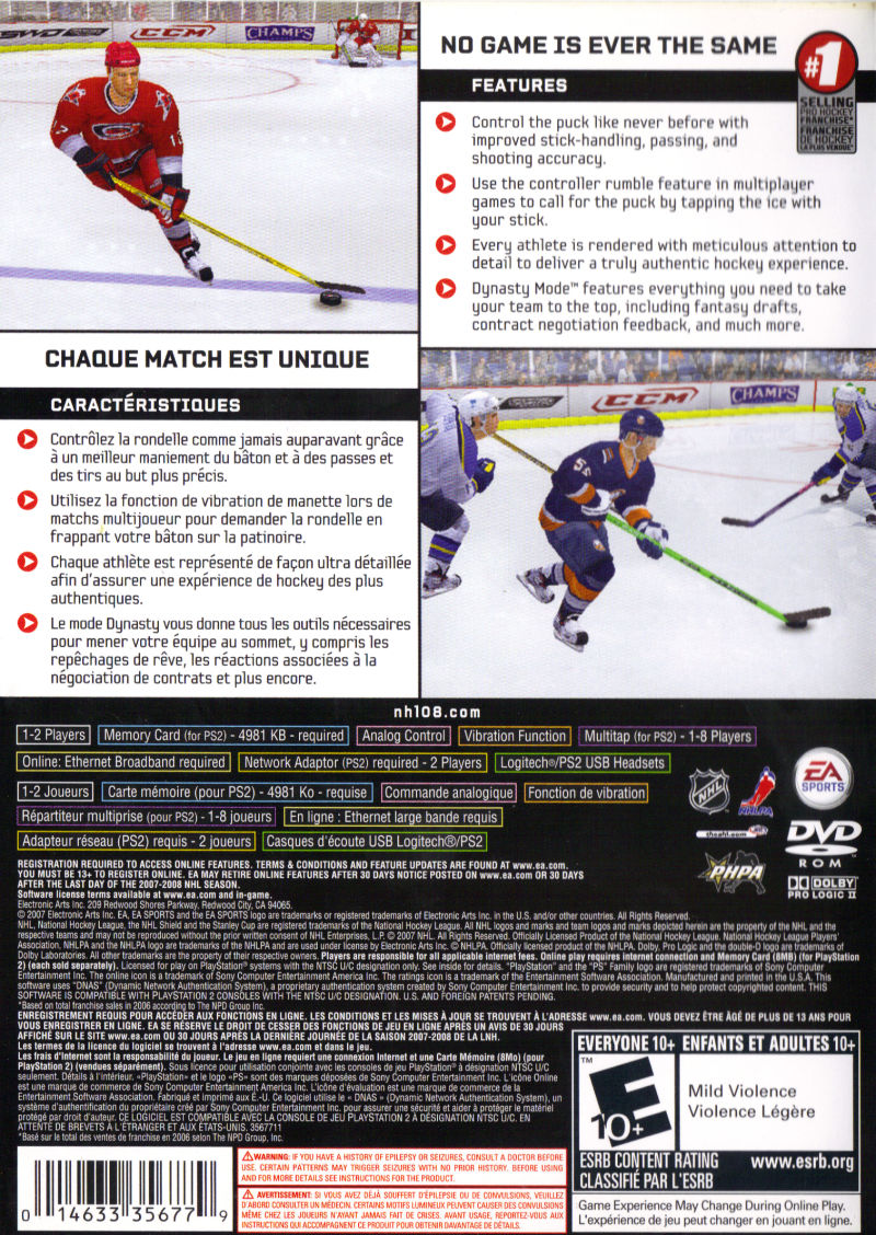 NHL 08 PlayStation 2 Back Cover