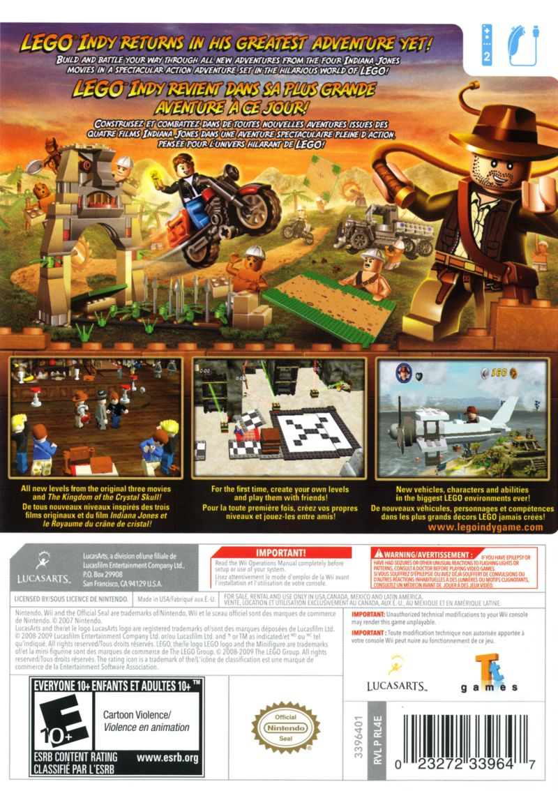 Lego indiana jones 2 the adventure continues 2009 wii box cover lego indiana jones 2 the adventure continues wii back cover publicscrutiny Image collections