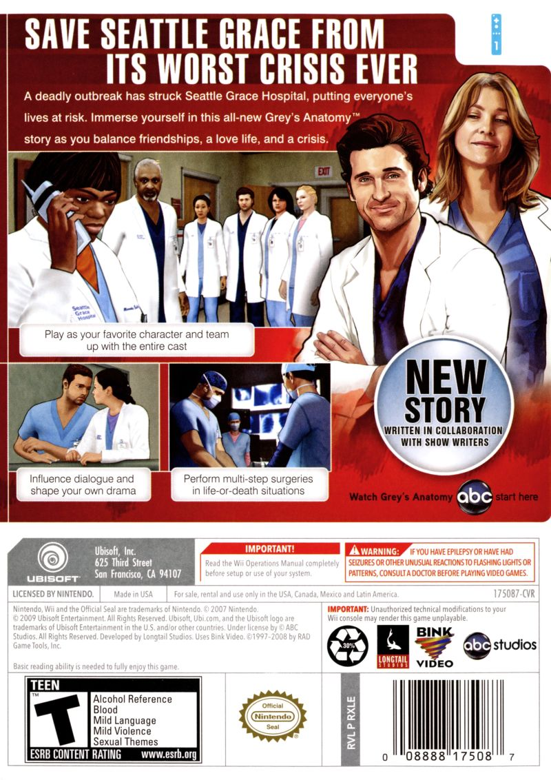 Greys Anatomy The Video Game 2009 Wii Box Cover Art Mobygames