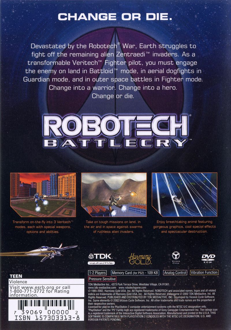 Robotech: Battlecry PlayStation 2 Back Cover